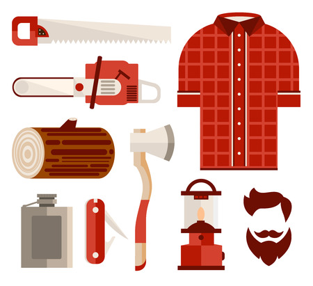 woodworking: Set of vector illustration of woodworking accessories and tools in flat style. Vector illustration collection