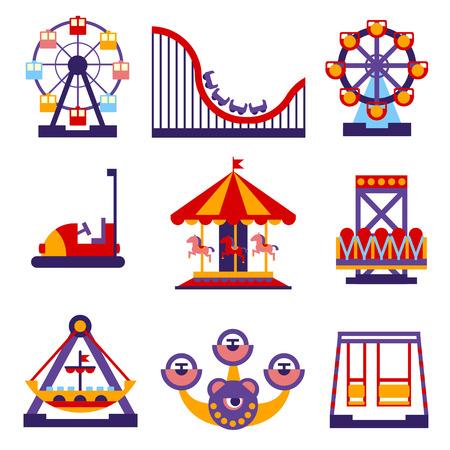 Reeks vector platte ontwerp pretpark en merry-go-round icons