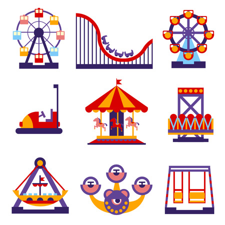 amusement park rides: Set of vector flat design amusement park and merry-go-round icons Illustration