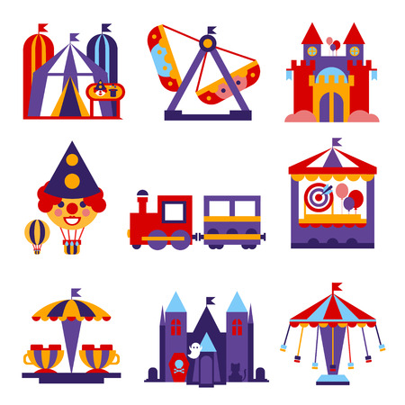 Set of vector colourful flat design amusement park and merry-go-round icons
