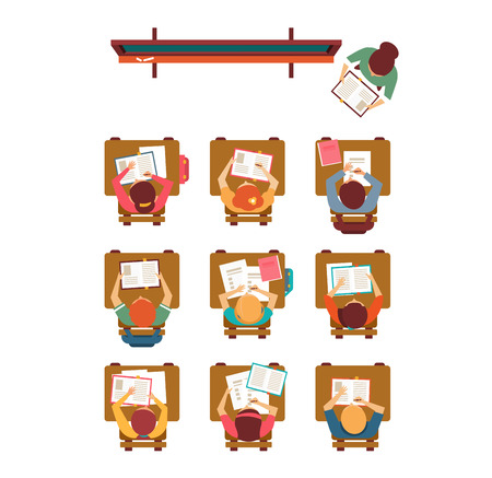 teacher and student: Vector illustration of a lesson top view in flat design Illustration