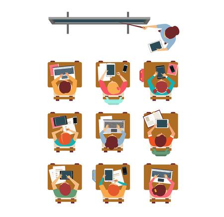 Vector Illustration eines modernen Unterrichtsdraufsicht in flache Bauform