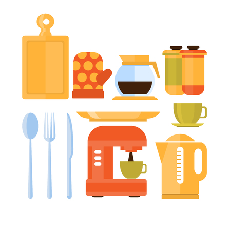 illustration collection: Different kitchen utensils and kitchenware icons in flat style vector illustration collection