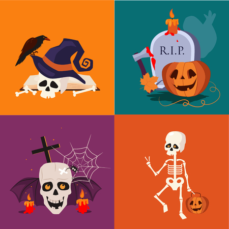 sceleton: Halloween flat icon set of a skull, sceleton, pumpkins and candles vector illustrations in flat style