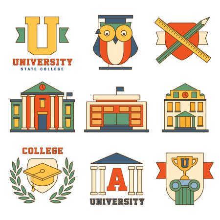 buho graduacion: Colecci�n Educaci�n y la Universidad de iconos del vector de colores en estilo moderno dise�o plano