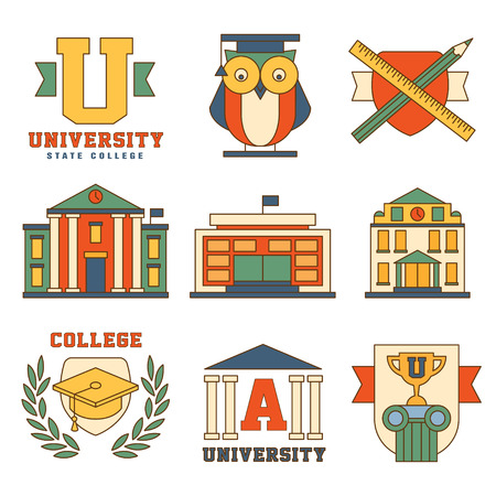 buho graduacion: Education and University Collection of colorful vector icons in modern flat design style Vectores