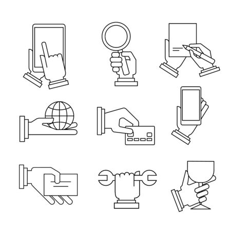 zooming: Set of modern linear business illustrations with hands vector illustration collection