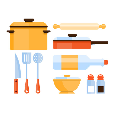 kitchen illustration: Colourful kitchen utensils and kitchenware objects in flat style vector illustration set