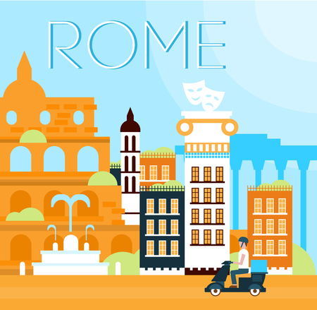 italian landscape: Illustration of traditional Roma background in flat style vector illustration
