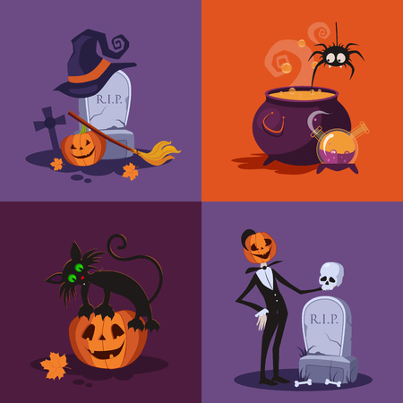 cat suit: Halloween vector illustration set with a cat, pumpkin, gravestone, cauldron vector illustration set Illustration