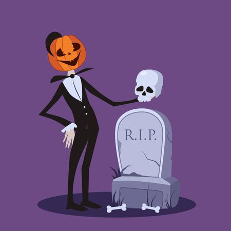 Vector illustration of Jack o Lantern standing with a skull near the grave Illustration