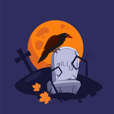 autumn scene: Halloween picture with a raven sitting on a gravestone vector illustration