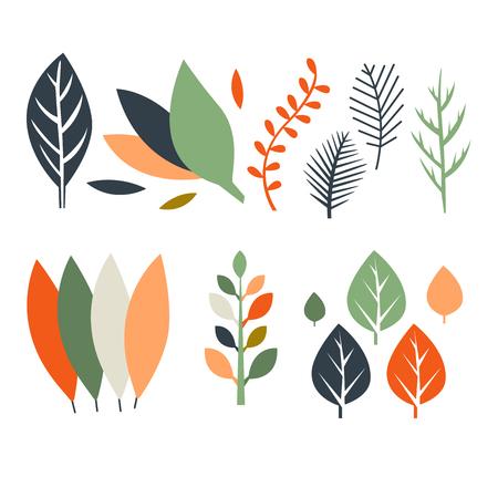 Set of flat design autumn leaves vector illustration