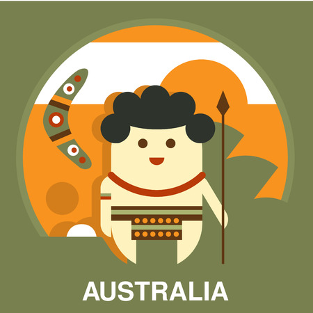 aborigine: Australian aborigine with a spear and boomerang in flat style vector illustration