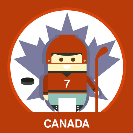 hockey stick: Cartoon Canada hockey player on the maple leaf background in flat style, vector illustration
