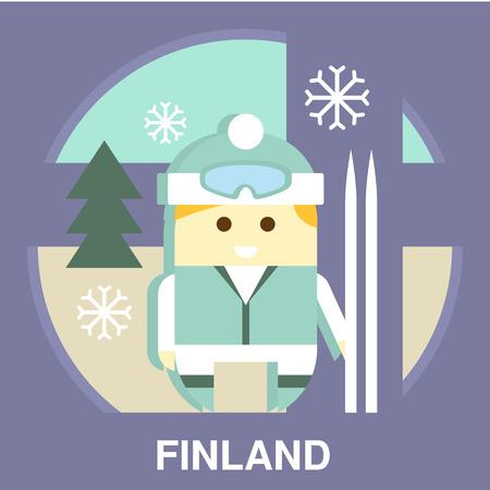 representative: Traditional Finland representative with ski in flat style, vector illustration