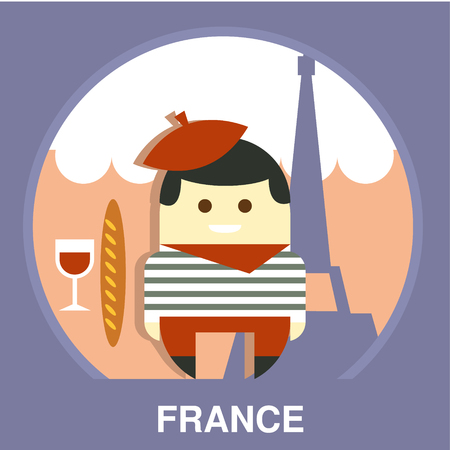 parisian: Parisian on traditional background in flat style, vector illustration Illustration