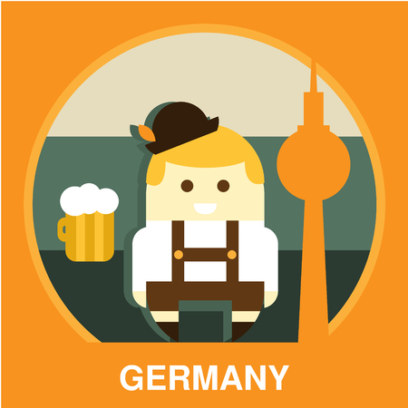 Icon of traditional Germany representative in flat style, vector illustration
