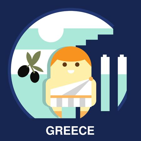 resident: Resident of Greece in traditional clothes and on the national background in flat style, vector illustration