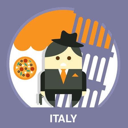 cosa: Italian man wearing a suit on the Pisa Tower background in flat style, vector illustration