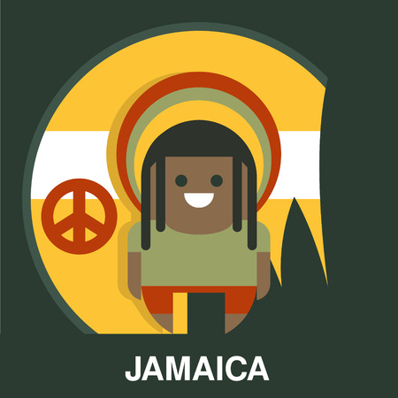 jamaican adult: Jamaican in bright hat in flat style, vector illustration