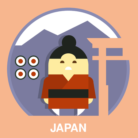 resident: Japan resident wearing traditional costume in flat style, vector illustration