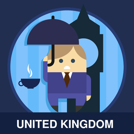 englishman: Traditional Englishman in flat style, vector illustration