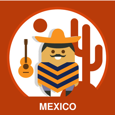 resident: Traditional Mexico resident in national clothes in flat style, vector illustration Illustration