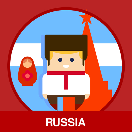 red square moscow: Russian man wearing national clothes on Kremlin background in flat style, vector illustration