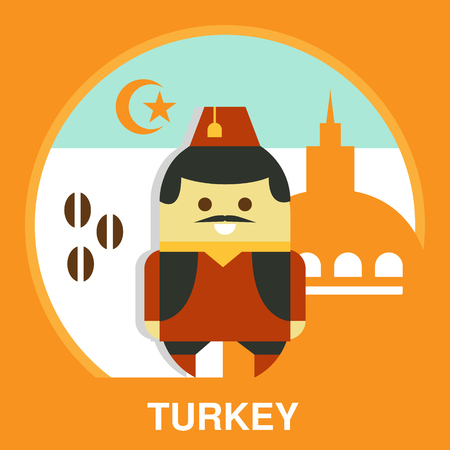 resident: Turkish resident in traditional clothes on national background, vector illustration in flat style