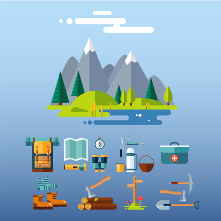 pick axe: Set of hiking and camping equipment. Flat design vector illustrations set
