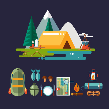 Set of hiking and camping icons. Flat design vector illustrations set