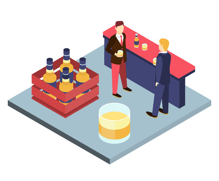drinks after work: Men in suits at the bar sterilizing Isometric 3D vector illustration. The end of the week, stay after work. Corporate party