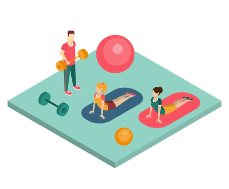 crossbar: Training in a gym isometric vector illustration in flat style