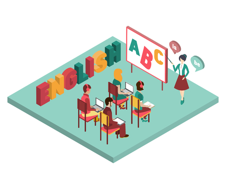 teaching: Engilsh class isometric vector illustration in flat style