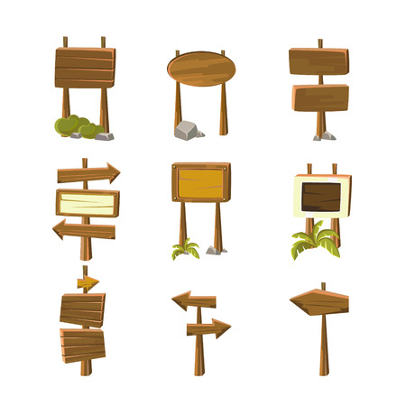 Wood signs and banners for games, vector illustration set