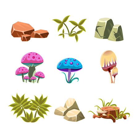 bushes: Set of cartoon bushes, leaves and mushrooms, vector illustration collection Illustration