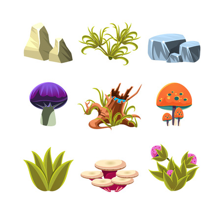 illustration collection: Set of cartoon leaves, bushes, and mushrooms, vector illustration collection