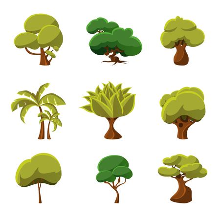 Set of cartoon trees, vector illustration collection