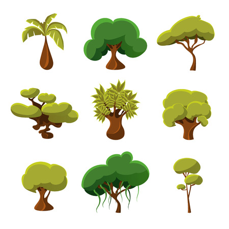 trees illustration: Set of cartoon bushes, trees and leaves, vector illustration collection