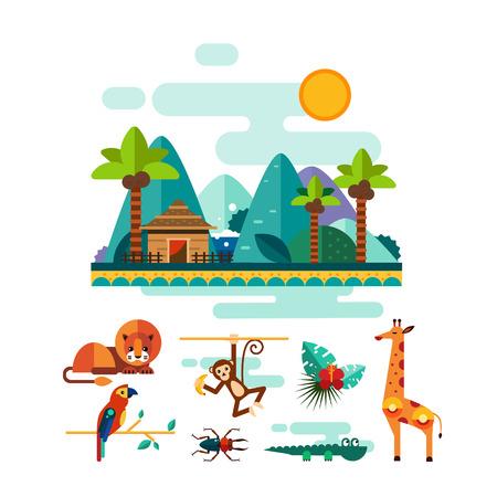 Conjunto de coloridos elementos de la selva y animales del trópico y de la naturaleza en estilo plano, ilustración vectorial conjunto Ilustración de vector