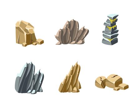 Set von Felsen und Steinen, Sammlung von Ikonen Vektor-Illustration
