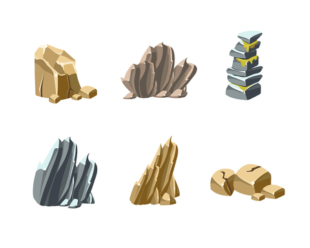 Set of rocks and stones, collection of icons vector illustration