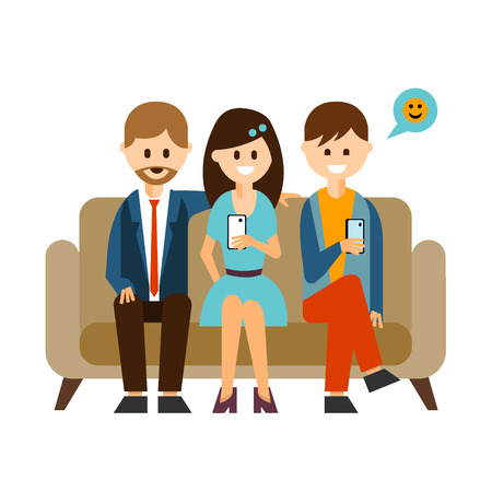communicating: Youth communicating through their cell phones in social media in flat style, vector illustration Illustration