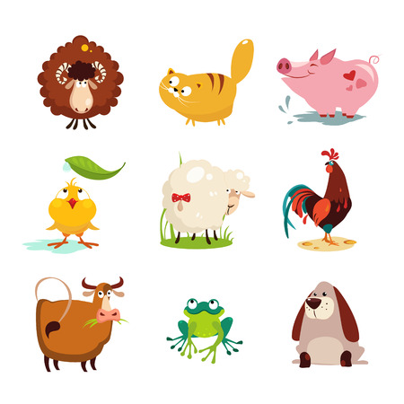 Set van landbouwhuisdieren en vogels vector illustratie collectie set