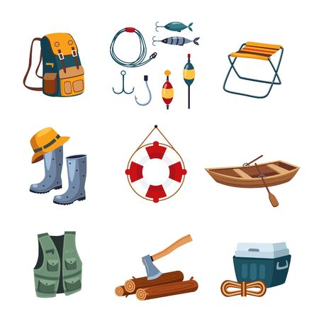 lifeline: Set of camping, fishing and outdoor icons in flat design, vector illustration collection