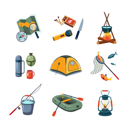 kerosene: Set of camping, fishing and outdoor icons in flat design, vector illustration collection