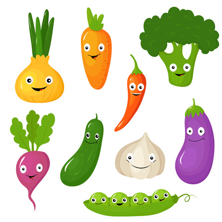 illustration collection: Set of smiling cute cartoon vegetables. Vector illustration collection Illustration