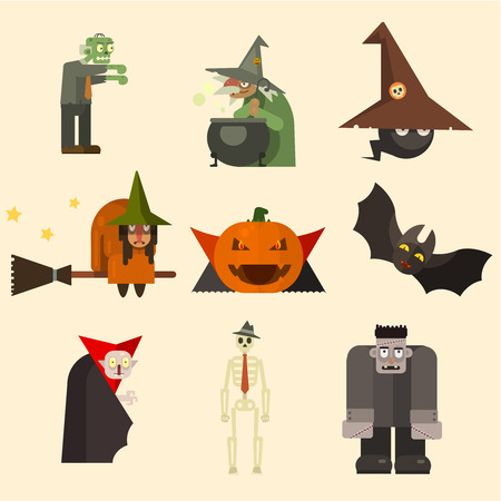 Collection of scary halloween characters, vector illustration set in flat style