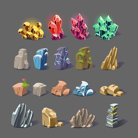 魔法の結晶のセット、石、岩コレクション アイコンのベクトル イラスト